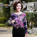 Middle aged and old women's wear Autumn of 2019 noble T-shirt Self cultivation singleton  Big flower Over 60 years old Socket moderate routine A slave Embroidery polyester Polyester 100% 96% and above Same model in shopping mall (sold online and offline) Long sleeves
