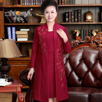 Middle aged and old women's wear Spring 2020 85325-2627 spring and Autumn Edition 85325-2627d Plush Edition noble suit Self cultivation Fake two pieces Flower and bird pattern Over 60 years old Socket moderate other 85325-2627 A slave Embroidery polyester Polyester 100% 96% and above Medium length