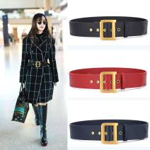 Belt / belt / chain top layer leather female Waistband Versatile Single loop Pin buckle letter Glossy surface 5cm copper letter Dorendio