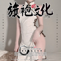 Nightdress Other / other white Average size sexy Sleeveless Short skirt Solid color High collar Polyester (polyester) A0073