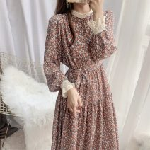 Dress Spring 2021 gules S,M,L,XL,2XL longuette singleton  Long sleeves commute Crew neck High waist Broken flowers Socket bishop sleeve Others Type A Other / other Korean version 51% (inclusive) - 70% (inclusive)