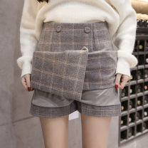 skirt Winter of 2019 S,M,L,XL,2XL Short skirt Versatile High waist A-line skirt lattice Type A Wool Ruffles, buttons, zippers