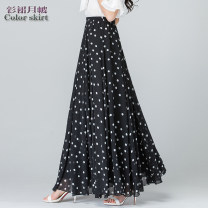 skirt Summer of 2019 S 1-9-2, m 2.1-2.2, l 2.3-2.4, XL 2.5-2.6, XXL 2.7-2.8, custom size longuette Versatile High waist A-line skirt Dot Type A 40-49 years old 81% (inclusive) - 90% (inclusive) Chiffon Cellulose acetate Splicing