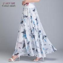 skirt Summer of 2018 S 1-9-2, m 2.1-2.2, l 2.3-2.4, XL 2.5-2.6, XXL 2.7-2.8, custom size longuette Versatile Natural waist A-line skirt Decor Type A 40-49 years old 71% (inclusive) - 80% (inclusive) Chiffon polyester fiber Ruffle, print