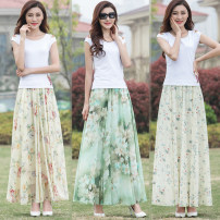 skirt Summer 2021 S 1.9-2, m 2.1-2.2, l 2.3-2.4, XL 2.5-2.6, XXL 2.7-2.8, custom size longuette Versatile High waist A-line skirt Decor Type A 40-49 years old 81% (inclusive) - 90% (inclusive) Chiffon Cellulose acetate printing
