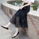 skirt Summer 2021 S,M,L,XL Mid length dress Versatile High waist A-line skirt Dot Type A Chiffon
