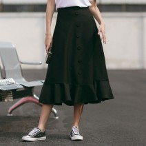 skirt Winter of 2018 S M L black Mid length dress commute High waist Umbrella skirt Solid color Type A 18-24 years old 90264L26803 81% (inclusive) - 90% (inclusive) other Silvermoon / Selmo polyester fiber Ruffle button Korean version Polyester 86.1% cotton 13.9% Pure e-commerce (online only)