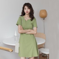 Dress Summer of 2019 Black Avocado Green Blue M S L Middle-skirt singleton  Short sleeve commute High waist Solid color Socket A-line skirt 18-24 years old Type A Silvermoon / Selmo Korean version More than 95% other cotton 3% cotton 3.7% polyester 96% Pure e-commerce (online only)
