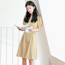 Dress Spring of 2019 yellow S M L Middle-skirt singleton  Short sleeve commute other Loose waist lattice Socket Princess Dress routine Others 18-24 years old Type A Silvermoon / Selmo Korean version Pleated lace 71% (inclusive) - 80% (inclusive) cotton Cotton 75.2% polyester 24.8%