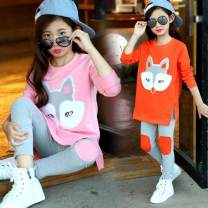 suit Other / other Orange, pink, white lotus leaf skirt 110cm,120cm,130cm,140cm,150cm,160cm female spring and autumn motion Long sleeve + pants 2 pieces routine There are models in the real shooting Socket nothing Dot other children Giving presents at school Class B Chinese Mainland Shanghai