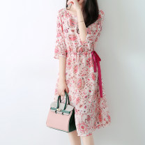 Dress Summer 2021 Foundation printing M,L,XL Middle-skirt singleton  Short sleeve commute Crew neck High waist Decor Socket other other Zhenpinfang lady Lace up, pocket, print BQ0003 More than 95% Crepe de Chine silk
