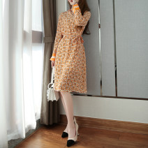 Dress Spring 2021 Green base geometry, orange base geometry M,L,XL,2XL Mid length dress singleton  Long sleeves commute V-neck High waist other Socket other routine Others Type H Zhenpinfang Simplicity Button, lace up, print BQ0276 More than 95% Crepe de Chine silk