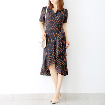 Dress Summer 2021 Orange dots on a black background 160/86A/M,170/94A/XL,165/90A/L longuette singleton  Short sleeve commute V-neck middle-waisted Decor other other routine Others Zhenpinfang lady Ruffle, print, stitching, lace up AQ9888 More than 95% Crepe de Chine silk