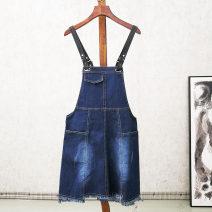 Dress Summer 2020 Dark black, dark blue M,L,XL,2XL 25-29 years old Fashion Group 51% (inclusive) - 70% (inclusive) cotton