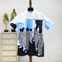 shirt Fashion City Others 165/84A,170/88A,175/92A,180/96A Bleached, blue grey Thin money square neck Short sleeve standard Other leisure summer youth cotton
