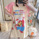 Nightdress Other / other Average size Cartoon Short sleeve pajamas Middle-skirt summer Cartoon animation youth Crew neck cotton printing 81% (inclusive) - 95% (inclusive) pure cotton 200g and below