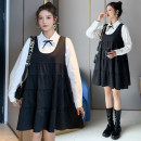 Dress Other / other black M,L,XL,XXL Korean version Long sleeves Medium length spring Lapel Solid color