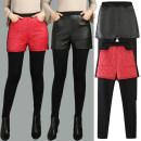 Leggings Autumn of 2019 Black, red, black [Plush], red [Plush] M,L,XL,2XL,3XL,4XL,5XL Plush trousers other 51% (inclusive) - 70% (inclusive)
