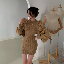 Dress Autumn 2020 Card color Average size Short skirt singleton  Long sleeves commute Crew neck High waist Solid color Socket other other Others 18-24 years old Korean version Stitching, folding 1206# other
