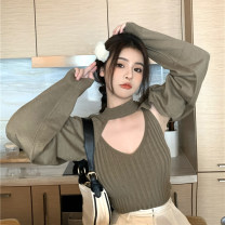 Wool knitwear Autumn 2020 Average size Coffee suspender, black suspender, coffee coat, black coat Long sleeves singleton  Socket other 71% (inclusive) - 80% (inclusive) Super short routine commute easy Low crew neck routine Solid color Socket Korean version 99430# 18-24 years old backless