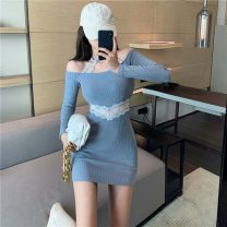 Dress Autumn 2020 blue , Lotus root color Average size Short skirt singleton  Long sleeves commute One word collar High waist Solid color Socket other routine Hanging neck style 18-24 years old Type H Korean version Mesh, stitching 7453# 71% (inclusive) - 80% (inclusive) knitting cotton