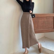 skirt Winter 2020 Average size Khaki, black Mid length dress commute High waist other Solid color Type H 18-24 years old knitting Other / other polyester fiber Splicing Korean version