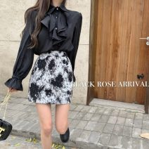 shirt Black shirt, skirt S, M Autumn 2020 other 51% (inclusive) - 70% (inclusive) Long sleeves commute Polo collar Single row multi button routine Solid color 18-24 years old Straight cylinder Korean version Ruffles, buttons