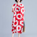 Women's large Summer of 2019 Red, black, yellow Average size Dress singleton  commute Straight cylinder thin Socket Short sleeve Big flower Korean version Crew neck cotton printing and dyeing routine pocket 81% (inclusive) - 90% (inclusive) Medium length