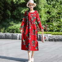 Women's large Autumn of 2019 Red, green, Navy, red, yellow, blue and green Large XL, large XXL, large L, M Dress singleton  commute easy moderate Socket Long sleeves Decor ethnic style Crew neck cotton printing and dyeing routine 81% (inclusive) - 90% (inclusive) Medium length