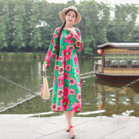 Women's large Autumn of 2019 Grey, green, navy Large XL, large XXL, large L, M Dress singleton  commute easy moderate Socket Long sleeves Big flower ethnic style Crew neck Cotton, hemp printing and dyeing routine pocket 30% and below Medium length