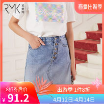 skirt Spring 2020 S M L XL Denim blue Short skirt Versatile High waist A-line skirt Solid color 25-29 years old More than 95% R · m · K / Norman cotton Cotton 100% Same model in shopping mall (sold online and offline)