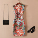 Dress Summer 2021 Decor S,M,L,XL,2XL Middle-skirt singleton  Sleeveless commute Crew neck middle-waisted Decor zipper One pace skirt routine Others 30-34 years old Type H Other / other Retro printing AK999 51% (inclusive) - 70% (inclusive) other polyester fiber