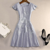Dress Autumn of 2019 Gray, purple M,L,XL,2XL,3XL Middle-skirt singleton  Short sleeve commute Crew neck High waist Solid color zipper Big swing routine Others 30-34 years old Type A Simplicity Embroidery 81% (inclusive) - 90% (inclusive) other polyester fiber
