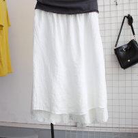 Casual pants White, light gray, black, khaki, light green One yard spot Summer 2021 Wide leg pants commute Thin money 96% and above ED6111 Ocnltiy hemp Korean version Lace stitching