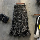 skirt Summer 2021 S,M,L,XL black longuette commute High waist Irregular Decor Type A 25-29 years old 24C—6408 More than 95% Chiffon Ocnltiy Korean version