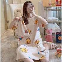 Pajama Top Other / other female Short sleeve Cartoon pajamas summer Thin Crew neck printing 2XL for 120-145 kg, l for 90-105 kg, m for 70-90 kg, XL for 105-120 kg
