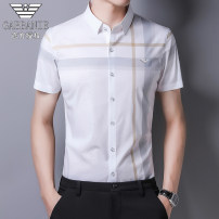 shirt Fashion City Chiamania 165/M,170/L,175/XL,180/XXL,185/XXXL,190/4XL Gray, yellow Thin money square neck Short sleeve standard Other leisure summer youth Business Casual 2021 stripe Color woven fabric No iron treatment other other Easy to wear
