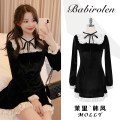 Dress Autumn 2020 black S,M,L,XL Short skirt singleton  Long sleeves Sweet Crew neck High waist Solid color zipper A-line skirt other 18-24 years old Type A Other / other Lace up, stitching, zipper, lace princess