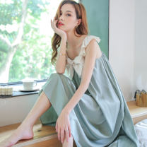 Nightdress warssawa Average size sexy camisole Leisure home longuette summer Solid color youth One word collar Iced silk bow More than 95% silk