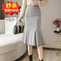 skirt Winter 2020 S,M,L,XL,2XL Picture color Mid length dress commute High waist skirt lattice Type A 25-29 years old More than 95% other Other / other other Korean version