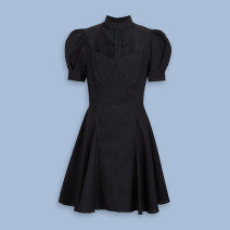 Dress Summer 2021 black S,M,L Short skirt singleton  Short sleeve Sweet High waist puff sleeve Hanging neck style 18-24 years old Type A WJ15S7AN2000 other acrylic fibres