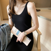 Dress Autumn 2020 Black, apricot, brown Average size longuette singleton  Sleeveless commute V-neck Loose waist Solid color Socket One pace skirt routine Others 18-24 years old Type H Other / other Korean version 30% and below other other