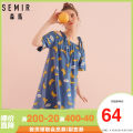 Nightdress Semir / SEMA A suspender - dark blue 0618, b letter - dark blue 0618, b letter - Fantasy 6300, C printing - dark blue 0618, D cat - white 0111, f stripe - white 0111, G rainbow - white 0111, H green - white 0111 S,M,L,XL Sweet Short sleeve Leisure home Short skirt summer letter youth