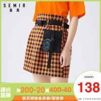 skirt Summer 2020 155/62A/S,160/66A/M,165/70A/L,170/74A/XL Short skirt Versatile Natural waist A-line skirt lattice Type A 18-24 years old More than 95% other Semir / SEMA polyester fiber zipper