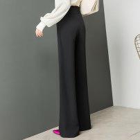 Casual pants black 26 (1'9), 27 (2's), 28 (2'1), 29 (2'2), 30 (2'3), 31 (2'4), 32 (2'5) Spring 2021 trousers Wide leg pants High waist original routine 2090-1 Shu can polyester fiber Three dimensional cutting