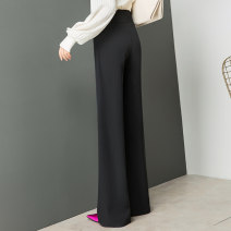 Casual pants black 26 (1'9), 27 (2's), 28 (2'1), 29 (2'2), 30 (2'3), 31 (2'4), 32 (2'5) Spring 2021 trousers Wide leg pants High waist original routine 2090-1 Shu can polyester fiber Three dimensional cutting