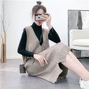 Dress Autumn 2020 S. M, l, XL, [collection, purchase, order, send beautiful gift] Mid length dress singleton  Sleeveless commute V-neck Loose waist Solid color Socket Big swing other straps 18-24 years old Type H Other / other Korean version Pocket, stitching, thread, strap More than 95% other other