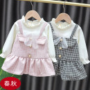 Dress female Other / other Size 90: 1-2 years old within 73-80cm, size 73: 3-6 months within 59-66cm, size 100: 2-3 years old within 80-87cm, size 80: 6-12 months within 66-73cm Cotton 100% spring and autumn Korean version Long sleeves lattice Pure cotton (100% cotton content) Splicing style Class A