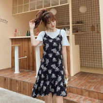Dress Summer 2020 S,M,L,XL,2XL,3XL Middle-skirt singleton  Sleeveless Sweet V-neck Loose waist Broken flowers Socket Ruffle Skirt other camisole Type A Ruffles, stitching, printing 81% (inclusive) - 90% (inclusive) Chiffon Vinylon Countryside