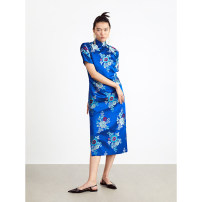 Dress Spring 2020 blue 0 2 4 6 Mid length dress 30-34 years old Ms MIN OMWD040070O More than 95% silk Mulberry silk 100% Same model in shopping mall (sold online and offline)